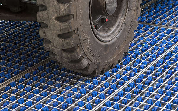 forklift tires, tires, cleaning field, blue brushes